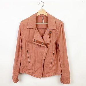 Free People | Linen Blend Moto Jacket Rosewood